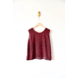 Top animal print rojo