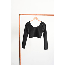 Croptop negro brillante