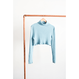 Crop turtleneck celeste