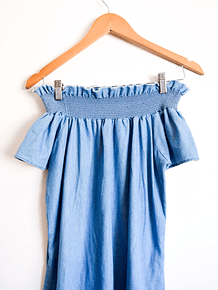 Vestido denim off shoulder