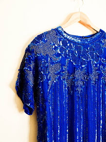Top seda azul sequin rain