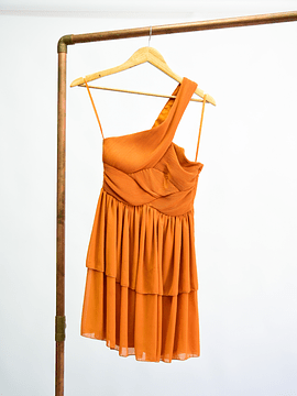 Vestido naranjo one shoulder
