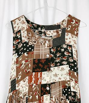 Patchwork Brown Dress