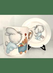 Taza con plato Conejo
