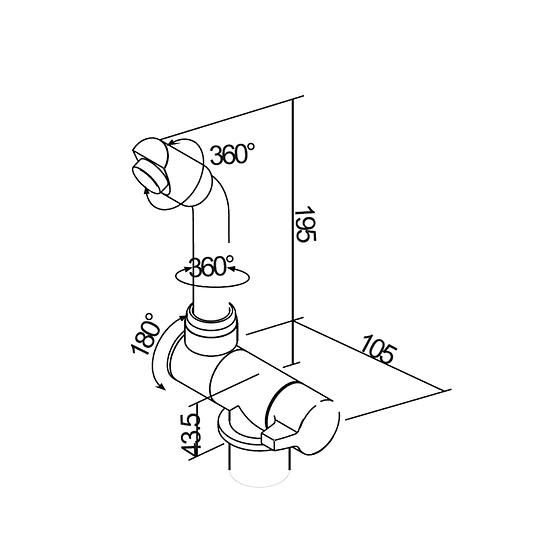 Grifería monomando 20 cms para casa rodante camper y motorhome