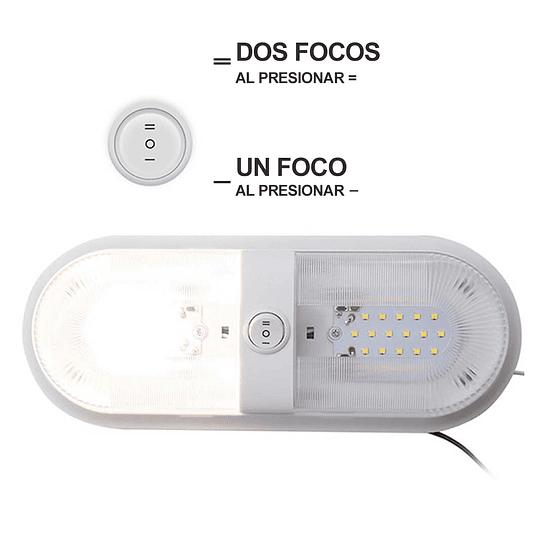 Foco LED 12V doble con interruptor blanco