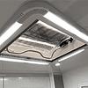 Claraboya 700x500mm transparente con luz LED, cortina y malla mosquitera deslizables