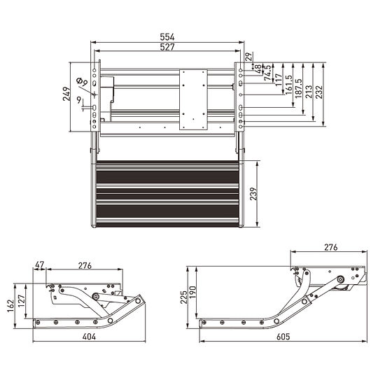 Pisadera eléctrica plegable 12V un peldaño