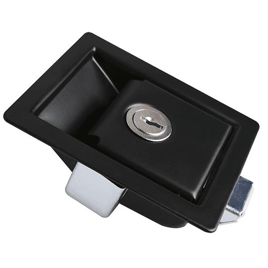 Cerradura chapa de impacto negra con llave