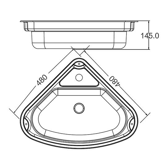 Lavaplatos esquinero de acero inoxidable con cubierta para casa rodante camper y motorhome