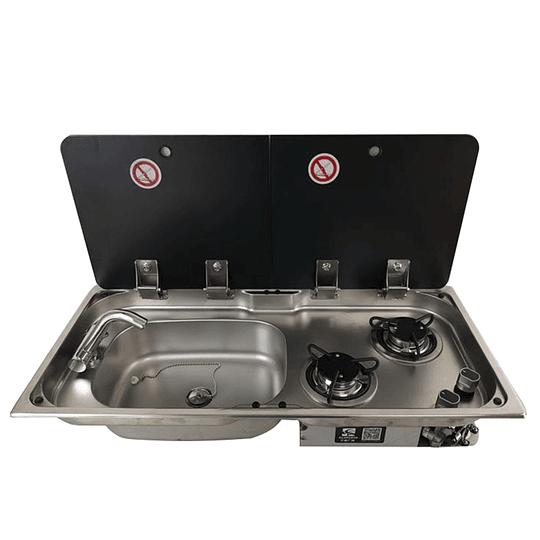 Combo Cocina/Lavaplato con cubiertas independientes para casa rodante camper y motorhome