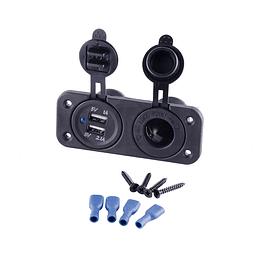 Socket 12V y doble enchufe USB con tapa