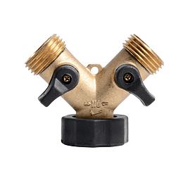 """Conexión tipo Y 3/4"""" en cobre con válvula independiente"""