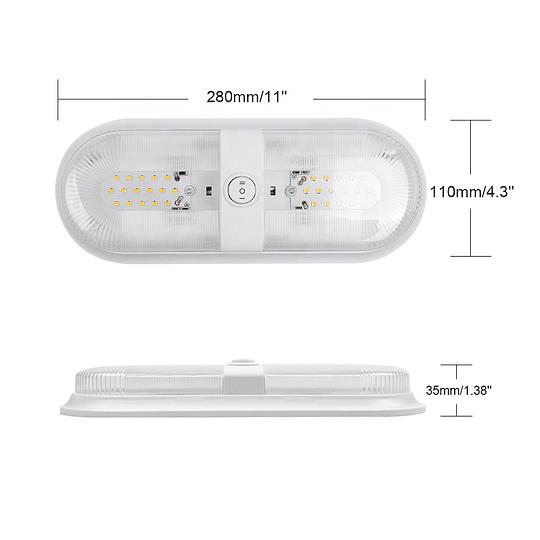 Foco LED 12/24V doble con interruptor negro