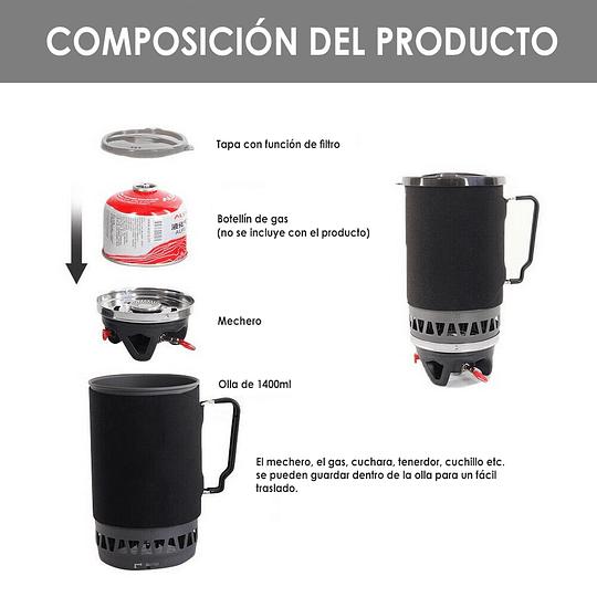 Cocinilla de camping a gas tipo boiler con pote de 1400ml
