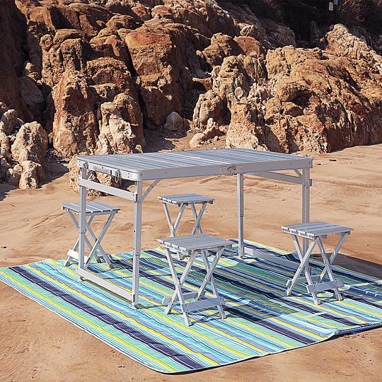 Mesa plegable de aluminio con altura regulable y 4 asientos