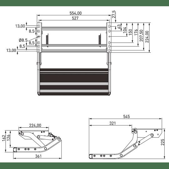 Pisadera plegable manual de un peldaño para casas rodantes, motorhomes, campers