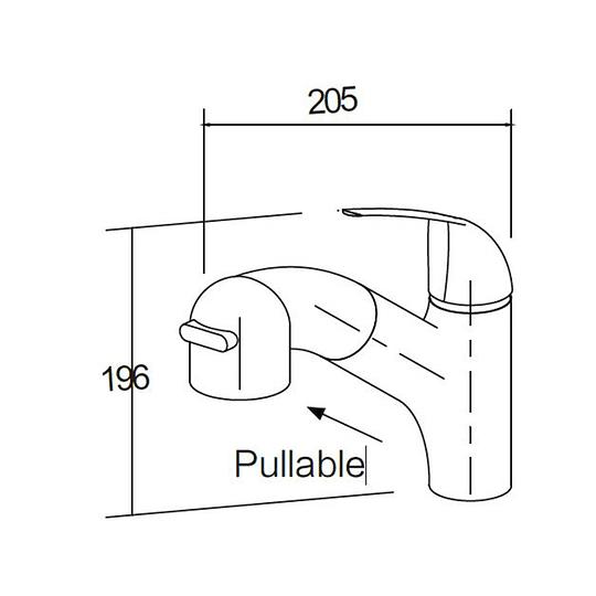 Grifería monomando con cabezal extensible para casa rodante y motorhome