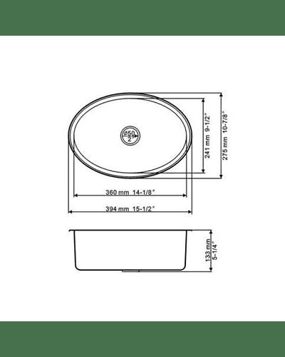Lavatorio o lavacopas ovalado para casa rodante camper y motorhome de acero inoxidable