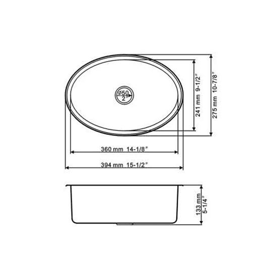 Lavatorio o lavacopas ovalado de acero inoxidable para mini camper, casa rodante, motorhome