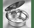 Lavaplatos circular para casa rodante camper y motorhome de acero inoxidable