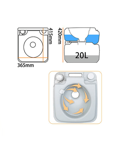 Baño químico portátil 20 litros (descarga doble) VC-BQ-1020