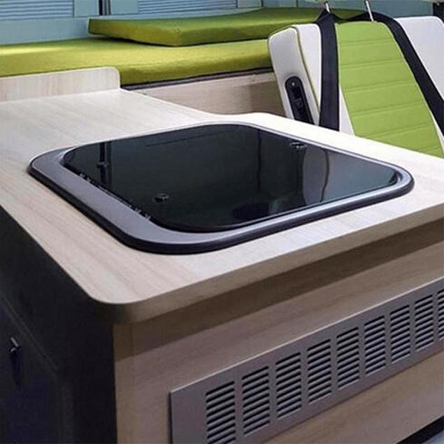Lavaplatos rectangular para casa rodante camper y motorhome de acero inoxidable