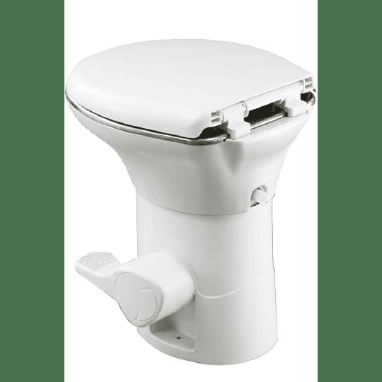 Baño con pedal y base de acero inox para casa rodante, camper y motorhome descarga por gravedad