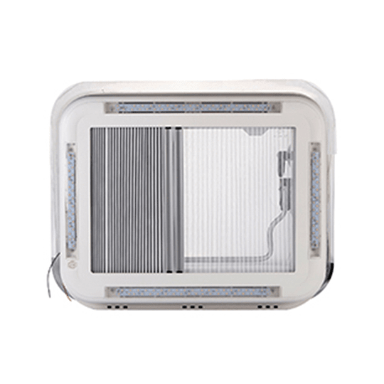 Claraboya transparente 400x600mm con luz LED, cortina y malla mosquitera deslizables