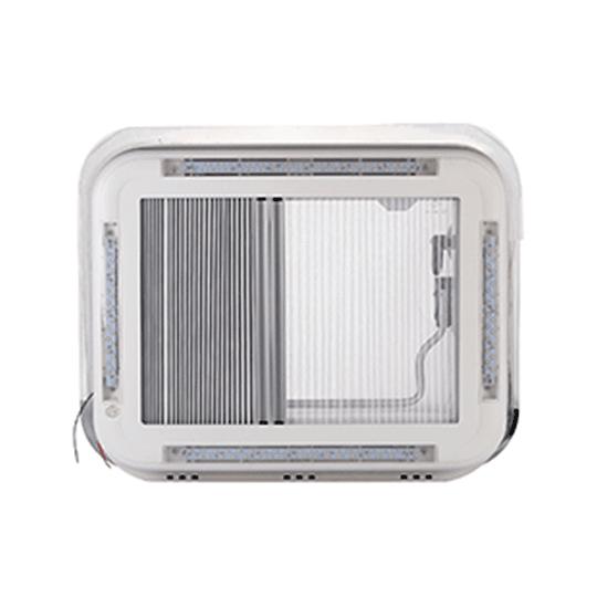 Claraboya 400x600mm transparente con luz LED, cortina y malla mosquitera deslizables