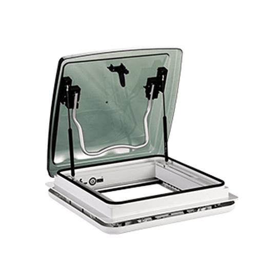 Claraboya 400x400mm transparente con cortina y malla deslizables