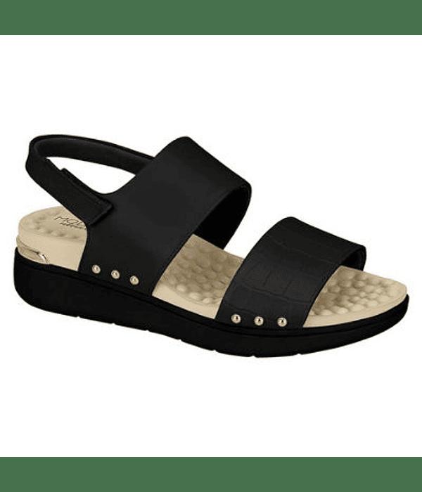 Sandalia Negra Modare Croco Veneza