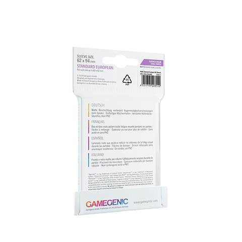 Game Genic - Protectores Matte - Standard European (62 x 94 mm)