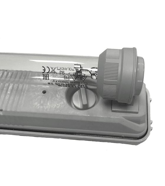 Régua c/ suportes estanques germicida desinfeção T8 TUV 36W 1200mm byWATT