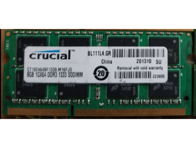 Memoria Ram 8gb PC3-10600S SODIMM DDR3-1333Mhz 204 pin Notebook