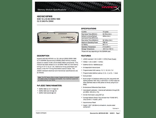 Memoria Ram 8gb / 2Rx8 PC3-14900U DDR3-1866Mhz Kingston Hyper Fury White HX318C10FW/8 HX318C10FB/8 HX318C10FR/8