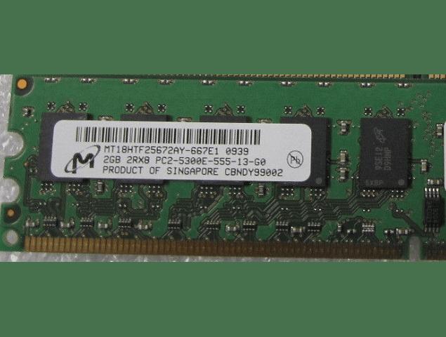 Memoria Ram 2gb / 2Rx8 PC2 - 5300E DDR2 - 667mhz / Ecc Unbuffered / HP Dell IBM Server