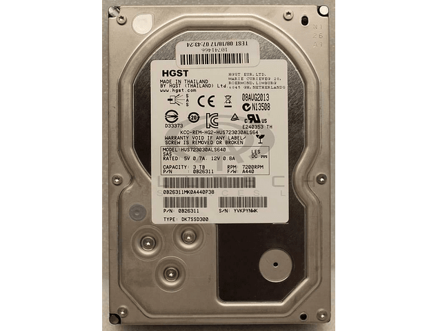 Disco Duro SAS Hitachi Ultrastar 3Tb SAS, 7200rpm 3.5