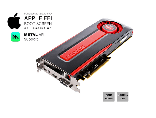 Tarjeta de Video Ati Radeon Amd HD 7970 3gb GDDR5 Apple Mac Pro Metal 4K 384-Bit MacPro