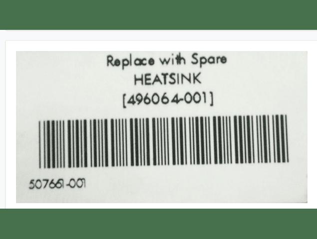 Disipador CPU Kit ampliacion DL380 G6 / G7 disipador Heatsink 496064-001