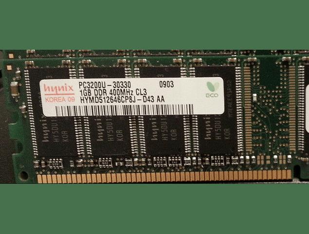Memoria Ram 1gb / PC1-3200U /  DDR-400Mhz  / 184 pin
