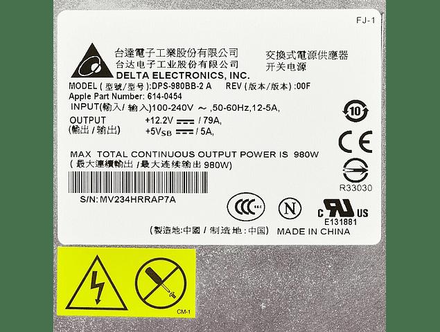 Fuente de Poder Apple MACPRO / A1289 / 4.1 / 5.1 / DPS-980BB-2 / 614-0454 / 980Watts / Delta