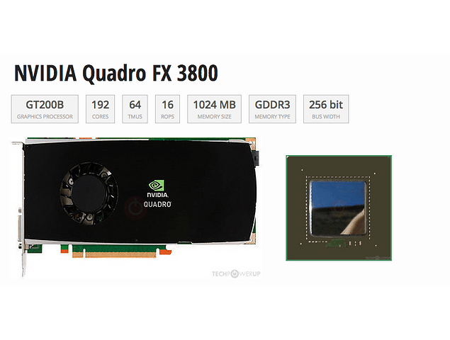 Tarjeta de Video Nvidia QUADRO FX3800 1GB GDDR3 PCI-E Video Card 2 X Display Port 1 X DVI