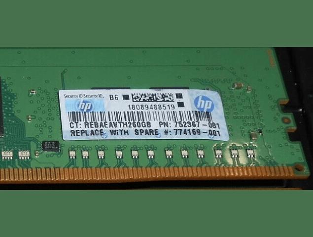 (A Pedido) Memoria Ram 4gb / 1Rx8 PC4 - 17000R PC4 - 2133P DDR4 - 2133Mhz / 752367-081 774169-001  / HP Server / Ecc Registered / 288pin