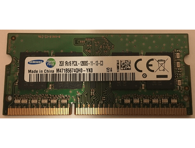 Memoria Ram 2gb / PC3L - 12800S DDR3-1600Mhz 204 pin Notebook