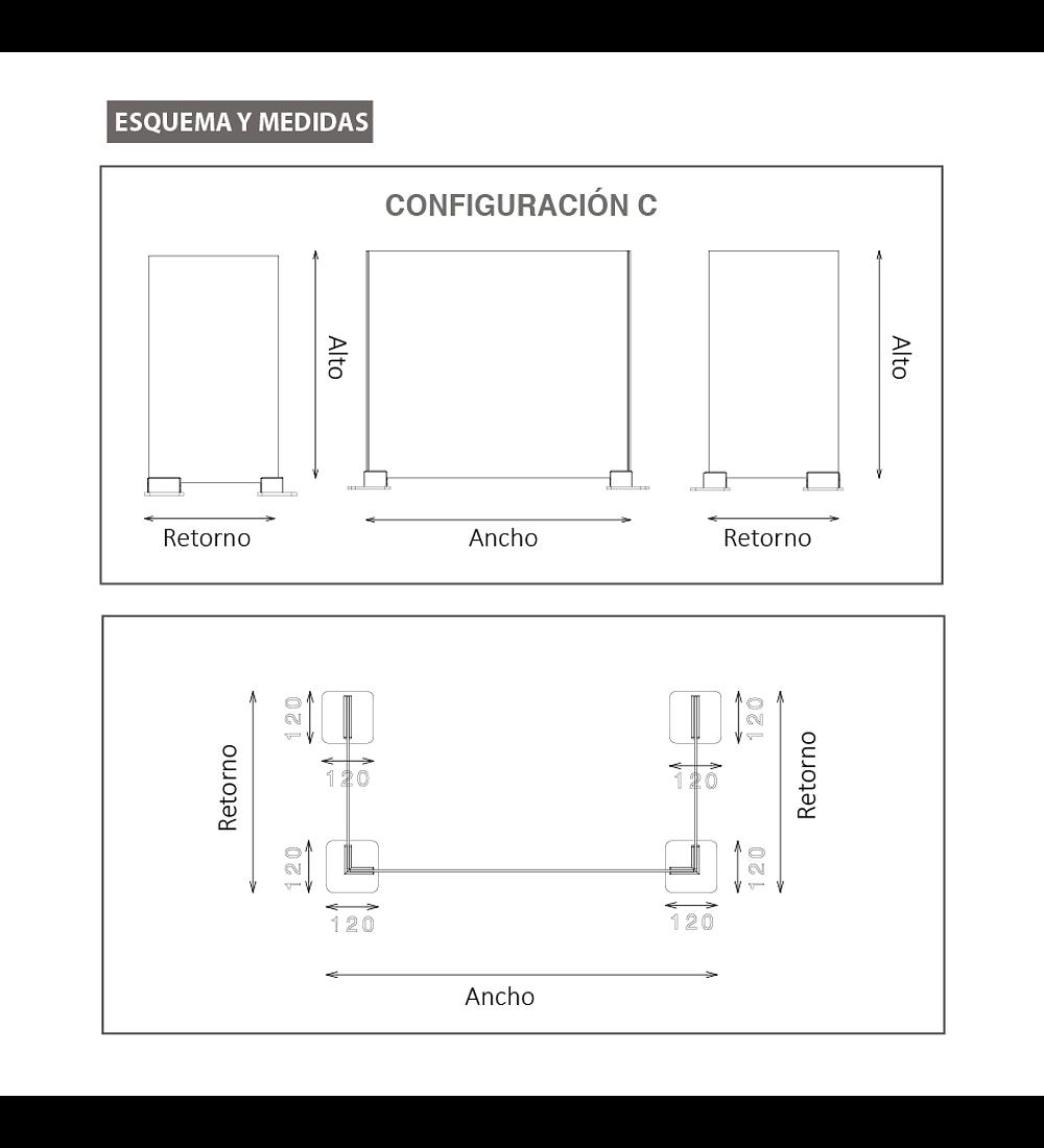 Separador anticontagio Modelo U - Top Gap