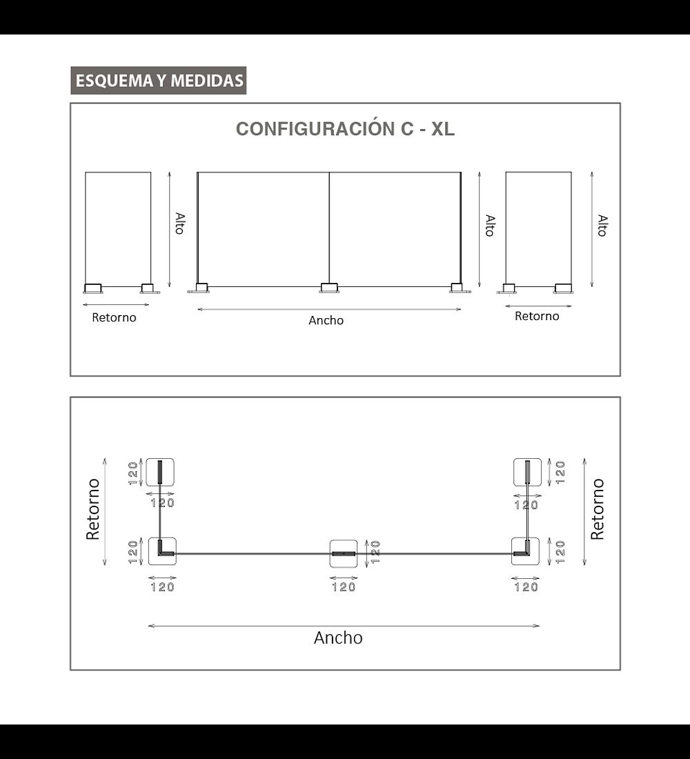 Separador anticontagio Modelo U-XL - Top Gap