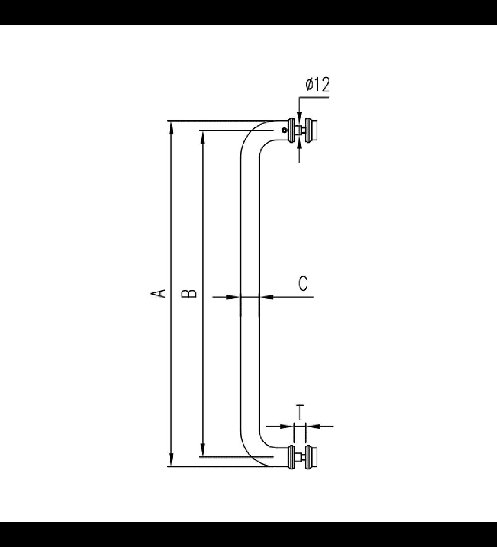Herraje - Tirador/toallero para cristal (O9A)
