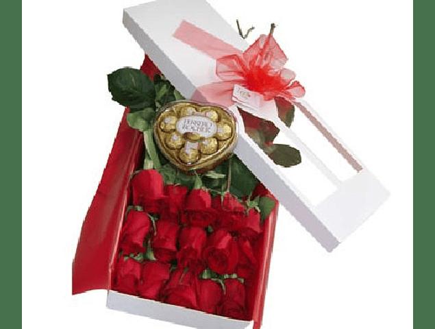 Caja 15 Rosas y Chocolates Corazon Ferrero