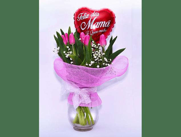 Florero 10 Tulipanes con Globo Mamá
